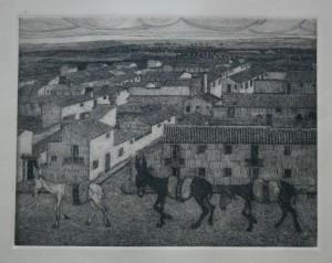 Mulos. Aguafuerte. 1960