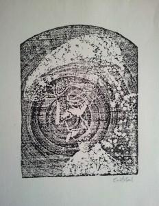 El cigarro. Xilografía. 1960