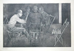 Reunión en la taberna. Aguafuerte 1960