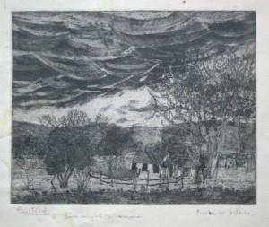 Casa de campo. Aguafuerte/aguada.1960
